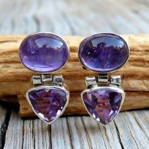 Vintage Sterling Silver Natural Amethyst Earrings